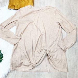 Knit Twist Front Long Sleeve Sweater Blouse 1549